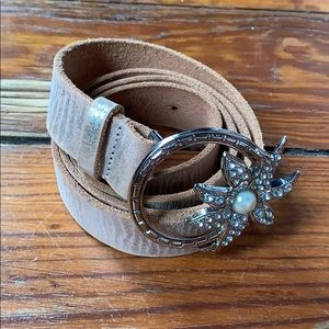 Arden B. Metallic Tan Belt M/L